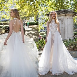 Wholesale Hand Strap Bling - 2017 New Style Wedding Dresses Detachable Train Sexy Bling Beaded 3D-Floral Appliques High Neck Ivory A Line Backless Illusion Bridal Gowns