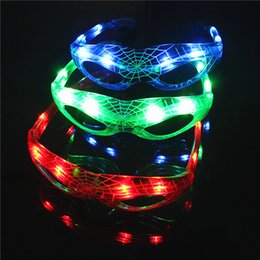 Wholesale Wholesale Spiderman Glasses Light Up - Luminous Cool Flashing Mask Glasses led Spiderman Glasses Party Decoration Colorful Light Up Toys For Kids