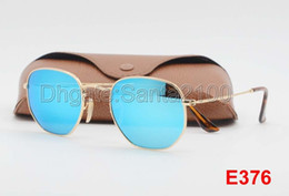 Wholesale green sunglasses white - High Quality Fashion Hexagonal Metal Sunglasses For Mens Womens Irregular Sun Glasses Blue Mirror 51mm Glass Lens With Better Brown Cases
