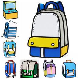 Wholesale Zipper Paper - Wholesale- 2016 Hot 3D Cartoon Comics Bag Paper Bag Double Shoulder Backpack Bag