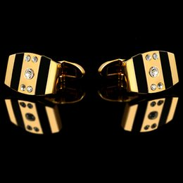 Wholesale Weddin Gift - 2016 French shirts Fashion cufflinks for mens Brand Gold Cuff links Luxury Weddin Buttons High Quality Crystal Gift