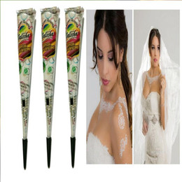 Wholesale White Tattoo Pigment - Wholesale-Henna tattoos white paste face painting henna body paint pigments henna tattoo pen plant in India wedding party