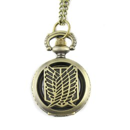 Wholesale Titan Watches Wholesale - Wholesale-Retro Charm Wings of Liberty Brass Small Pocket watch,Attack on Titan Clothes Necklace