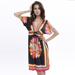 Wholesale Tunic Batwing Summer Dress - Boho Style Summer Women Dress Sexy Sundresses Deep V Ethnic Floral Print Tunic Beach Dresses Plus Size Casual Silk Dresses LYQ001