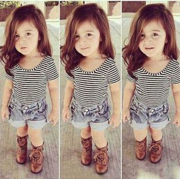 Wholesale Demin Shorts Kids - 2017 Fashion Toddler Kids Baby Girl Clothes Black And White Stripes Short Sleeve T-Shirt Tops+ Demin Shorts Outfit Set 2-7T