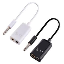 Wholesale Headphone Splitter Cable - White Black 3.5mm Jack Male to Female Headphone Stereo Earphone Audio Splitter to Micrphone Adapter Cable For Phone 6 5S 4S