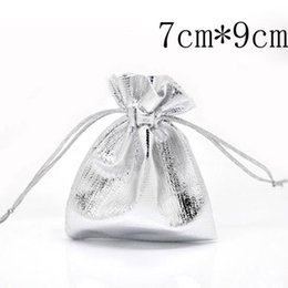 Wholesale Wholesale Recycled Fabric - Wholesale- Free Shipping 100 Pcs Silver Plated Satin Fabric Gift Bags With Drawstring 7x9cm(W01809 X 1)
