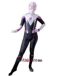 Wholesale Kids Hero Halloween Costumes Girls - 2017 Spider-Man Homecoming Gwen Stacy Cosplay Costume 3D Printed Spiderman Homecoming Spandex women Girls Suit