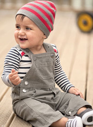 Wholesale Boys Braces Outfit - 2017 3PCS Toddler Baby Boys Clothing Striped Romper + Gray Braces Pants+ Red Hat Set Kids Casual Clothes Outfits