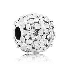 Wholesale Enamels Cross - Authentic 925 Sterling Silver Bead Charm White Enamel Daisy Meadow Clip Stopper Beads Fit Women Pandora Bracelet Bangle Diy Jewelry HK3412