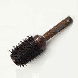 Wholesale Hair Salon Colours - 25mm-53mm Professional Nano Ceramic Ionic Round Comb Barber Hair Dressing Brush Salon Styling Tools Brown Colour Hairbrush