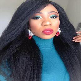 Wholesale Brazilian Yaki Hair 1b - Brazilian Full Lace Wig With Baby Hair Yaki Straight #1B 130 Density Non-Remy Human Hair Wigs For Black Women