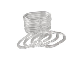 Wholesale Plastic Shower Accessories - Flexible Shower Curtain Clear Plastic Hook Set Rings C Shape