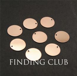 All'ingrosso-20 pezzi in oro rosa 14mm Blank Stamping Tag Charms per bracciali in materiale plastico naturale senza nickle RS754 da