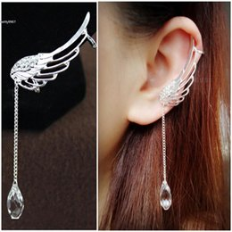 Wholesale Jewerly Clips - 2017 New jewerly 1 Pair Cuff Clip Crystal Silver Plated Angel Wing Earrings Drop Dangle Ear Stud
