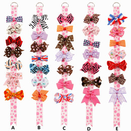 Wholesale Girls Handmade Top - Baby Hair Clips Sets Handmade Ribbon Bows Gift Set Monday to Sunday Toddlers Girls bow tops Birthday Kit Head Accessories