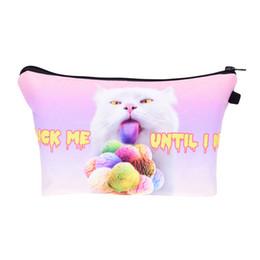 Wholesale Wholesale Beautiful Handbag - 2017 Fashion Makeup Bag Wallet Beautiful Cat Cosmetics Bag Travel Bag neceser mochila bolsa feminina Handbag organizer Makeup Pouch