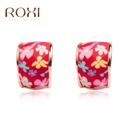 Wholesale Polymer Clay Flowers For Jewelry - ROXI Brand Stud Earrings For Womens Jewelry Charm Red Fimo Ceramics Polymer Clay Earrings Women Wedding Party Vacation Jewelry
