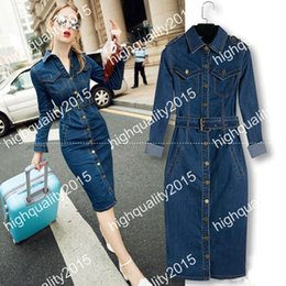 Wholesale Women Summer Jeans Dress - 2017 Vestidos Ladies Casual Slim Denim Long Dress With Belt Sexy Bodycon Dress Oversize Women jeans Maxi Dress