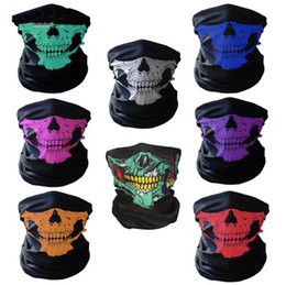 Wholesale Motorcycle Head Bandanas - 10styles Motorcycle bicycle outdoor sports Neck Face Cosplay Mask Skull Mask Full Face Head Hood Protector Bandanas Party Masks C012