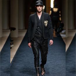 Wholesale Beige Lace Jacket - Wholesale- PARIS FASHION 2017 Men's Runway Designer Jacket Long Sleeve Badge Embroidery Rope Lacing Blazer Jacket