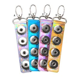 18mm metal snap buttons Coupons - Strip Mirror Patent Leather Snap button Keychain DIY Noosa 18mm snap Button Key Rings shiny PVC Snap Keyring Accessories Jewelry