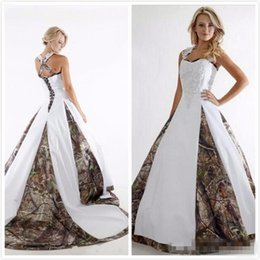 Wholesale Pictures Crops - Vintage Lace Stain Country Camo Bridal Wedding Gowns 2017 Boho Style Criss Crop Custom Make Plus Size Camo Wedding Dresses Cheap