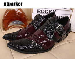 Wholesale Punk Japanese Fashion - New Japanese Rock Fashion man's shoes punk increased Height Man Leather Shoes buckles Adult man shoes oxford, 46!