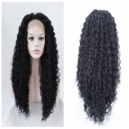 Wholesale Kinky Lace Front Wigs Stock - black kinky curly wig Long Cheap synthetic lace front wigs heavy density for black women 16-26 inches in stock