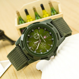 Wholesale Mens Canvas Watches - Solider Military Army Mens Watch 1pcs lot Sport Style Canvas Fabric Strap Belt Man Quartz WristWatch 4 Colors Steampunk Vintage