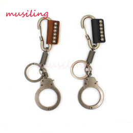 Wholesale Handcuff Keys - Leather Key Chain Handcuffs Pendant Car Key Rings Material Antique Copper Alloy Personalized Design Vintage European Charm Jewelry