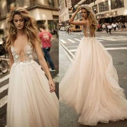 Wholesale Open Back Crystal Wedding Dress - Berta 2017 Wedding Dresses Beaded Hand Made Flower Vintage Bridal Gowns Open Back Plus Size A Line Wedding Dress
