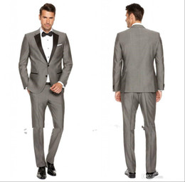 Wholesale Mens Grey Pinstripe Suit - 2016 Custom Grey Mens Suits Black Lapel Slim Fit Wedding Suits for Groom   Groomsmen Prom Casual Suits (Jacket+Pants+Bow Tie)