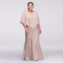 Wholesale Long Wedding Dres - Lace Plus Size Long Mermaid Evening Dress with Beaded Capelet 3523W Buff Sexy Mother of the Bridal Dres Wedding Party Dress Formal Dresses