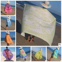 Wholesale Cloth Printing Designs - 53 Designs Table Cloths Round Beach Towel Totem Printed Summer Beach Cover Upr Shawl Blanket Polyester Beach Cover Table Mat CCA5820 50pcs