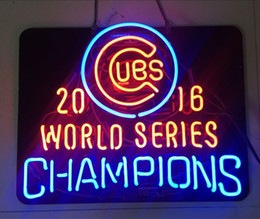 "Wholesale Neon Glass Tubes - 17""x14"" Chicago Cubs World Series Champions 2016 Black Acrylic Board True Glass Tube NEON LIGHT SIGN BEER BAR CUSTOM Wall Lighting"