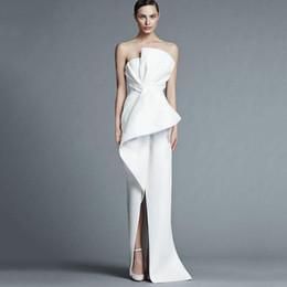 2019 elfenbein farbe nacktes kleid 2019 Moderne Sexy Abendkleider Liebsten Ärmellos Split Lange Bodenlangen Formale Abschlussball-Party Kleider