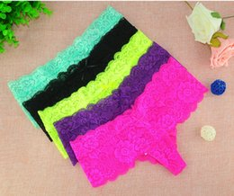 Wholesale Pink Panties - New sexy bow T-back Underwear Crotchless Panties Mesh Lace T-back More colors Women Underwear free shipping