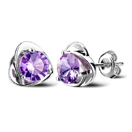 Wholesale purple earrings for wedding - Amethyst heart Stud Earrings for Women Austrian Crystal Ear Jewelry 925 Sterling Silver Women Wedding Stud Earrings Purple Drop Ship