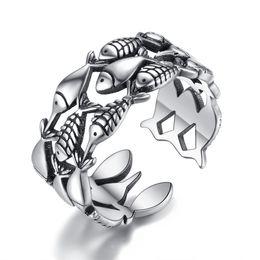 Wholesale Enamel Rings Adjustable - BELAWANG Silver Ring Alloy Punk Style Open Finger Ring 2017 New Men&Women Jewelry Animal Opened Adjustable Finger Ring for Man Free Shipping