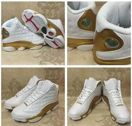 Wholesale Boy Shoes Size 13 - 2017 Retro 13 Basketball Shoes White Gold 1998 13 14 DMP Pack Sport Shoes Sports Training Sneakers Athletics Sneakers Girl big boy shoes 4-7