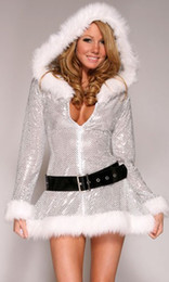 Wholesale Miss Santa Costumes - Exclusive Silver Fantasy Christmas Costume Women Santa Costume Sexy Miss Claus Halloween Party Cosplay Hooded Dress+Belt
