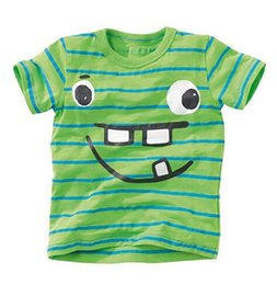 Wholesale face cotton rounds - BST15 NEW ARRIVAL Little Maven Boys Kids 100%Cotton Short Sleeve Smile Face Stripped print green T shirt Boys causal summer t shirt
