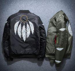 Wholesale Long Black Coat Feathers - Feather embroidery KANYE tour MA1 pilot jackets black green flight MERCH BOMBER MA-1 Coats Jackets large size M-5XL. Free shipping