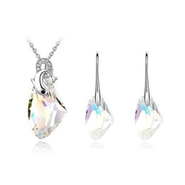 Wholesale Orange Green Earrings Jewelry Wholesale - 925 Sterling Silver Plated Austrian Crystal Necklace Earrings Necklace and earrings Sets for Women Party Jewelry Set
