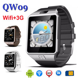 Wholesale Cheapest Dual Camera Phones - Cheapest 3G Smart watch QW09 Android Bluetooth 4.0 Wristwatch MTK6572 Dual Core 512MB 4GB Wifi Pedometer camera Smartwatch Phone VS DZ09