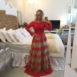 Wholesale Chiffon Cross Shirt Long Sleeve - Sexy Long Sleeve Red Prom Dresses 2017 Boat Neck Applique Pearls Long Prom Party Gowns Sexy Backless Evening Gowns Custom Made