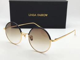 Wholesale Brown Linda - Linda Farrow LFL 583 Round Sunglasses Black Gold Brown Lenes Designer Sunglasses size 52-21-145 Brand New with Case Box