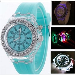 Wholesale Diamond Watch Led - Luxury Geneva Silicone Diamond Wristwatch Colorful Lights LED Luminous Quartz Watches Men and Women Watches Geneva Luminous Watch Gifts