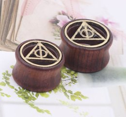 Wholesale Triangle Ear Plugs - Carve Triangle Natural Wood Hollow Ear Plug Tunnels Piercing Expanders Body Jewelry for women and man ER715